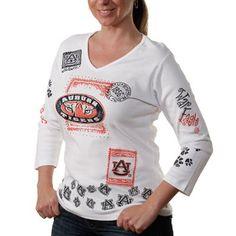 Auburn Tigers Women's Woodblock Three-Quarter Sleeve V-Neck T-Shirt - White