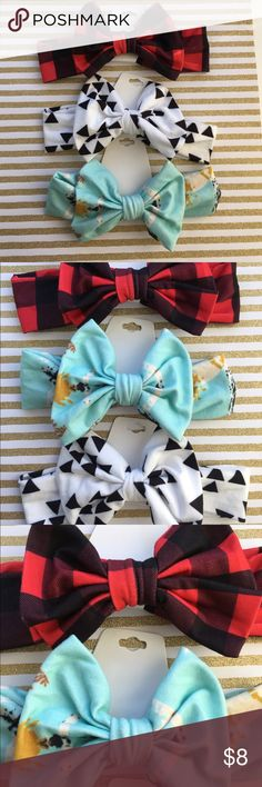 """ONE DAY SALE 💕Toddler Headband Bow Turban  Fleece Cute Bow Hairband for toddlers.   Turban Knot Headband with a Bow that is 5"""" wide. Super soft material. Fleece like  The headband is 15"""" with no stretch. Can stretch further but these are made for toddlers . Would be small for adults.  I have 3 patterns available.   Black Triangles , Red Plaid , and Mint Branches   Please select which pattern you would like when purchase. If would like a bundle leave a comment and I'll make one Accessories…"""