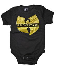 Wu-Tang gold glitter logo on a black onesie (Baby Shirts (Onesies)).  SOURPUSS WU-TANG LOGO ONE PIECE Calling all babies of the hiphop dojo! This  is a must ... 33a772f9b19c