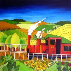 La locomotora roja  50x50 cms  Óleo sobre lienzo