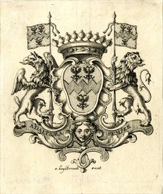 Print made by F Heylbrouck, ca 1772. Crowned coat of arms (of De Vooght of Bruges) charged with three double-headed eagles, supported by a griffin and a lion holding flag-poles, a banderol with motto below. Engraving