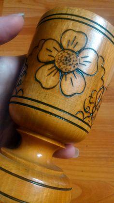 Vintage Romanian wood pencil candle holder by LegendaryAntiques