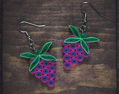 Grape earrings/ Grape jewelry/ Grapes/ Paper Art/ Quilling jewelry/ Paper grape earrings/ Light weight Jewelry/ Bridesmaid earrings