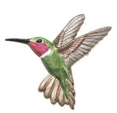 "Refrigerator Magnet.  Hummingbird:  Height: 4.50"". Width: 4.25"".  Thick: .020. Weight: 0.056oz.  Colors shown. Hummingbird's  body:  Greens blues white red  throat. Wings: Metallic slivers  whites browns.  Beak: Black.  Hummer will make nice hand  painted gift for any bird  watcher.   Hand-painted by LSC Creations.  $12.50 each."