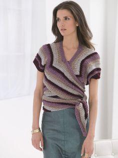 Shaded Stripes Wrap - Free Knitted Pattern - (joann.lionbrand)