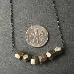 Pyrite Nugget and Oxidized Sterling Silver Necklace $35
