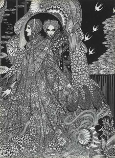 Black and white illustration by Harry Clarke for Edgar Allen Poe's Colloquy of Monos and Una