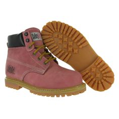 SafetyGirl Steel Toe Waterproof Womens Work Boots - Light Pink