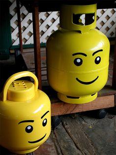 lego head propane tank. Reminds me of my working at UHaul days. ha.