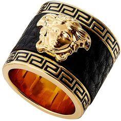 Leather Medusa Ring ❤ liked on Polyvore featuring jewelry, rings, leather jewelry and leather ring