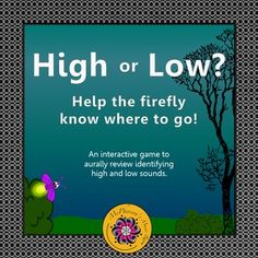 Is it High or Is it Low? Your elementary music students will fall in love with the firefly as it twinkles across the page when they listen to a sound and select the correct answer in this interactive music game! Excellent music resource!