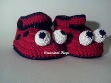 Pattern n.310 Crochet Baby Lady Bug/ Booties / Slippers / Shoes/3 size/