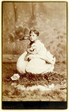 Raymond Roussel, age three, on a swan.
