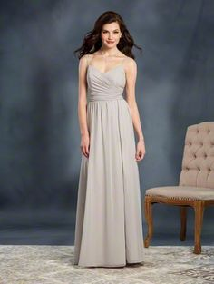 Alfred Angelo Style 7371L: long floor length bridesmaid dress with sweetheart neckline and double spaghetti straps