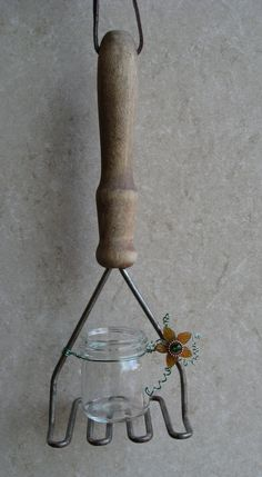 Vintage Potato Masher Repurposed as a Hanging by GiftGardenbyCarla
