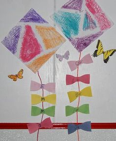 Wet Chalk Kite Crafts for Literacy and Math