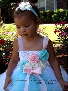 aquamarine, fresh white and palest pink tutu flower girl dress. Nowbavailable at www.diamondtreasureboutique.com Flower Girl Tutu, Flower Girl Dresses, My Beautiful Daughter, Pink Tutu, Pale Pink, Modeling, Fresh, Wedding Dresses, Design