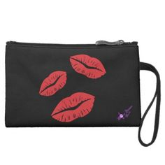 Red Kisses Sueded Mini Clutch #miniclutch #sueded #red #kisses #valentinesday #moondreamsmusic #black #lips #red