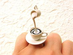 Kawaii Cute Japanese Ring Coffee With Cream by SouZouCreations. Yes, I love rings, but this is crazy. Cream Rings, Cute Japanese, Cute Rings, Latte Art, Love Ring, Kawaii Cute, My Coffee, Coffee Cream, Coffee Time