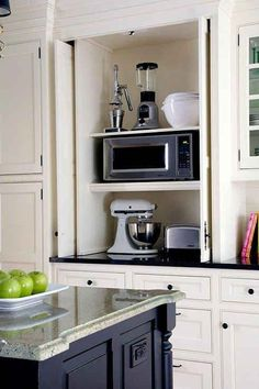Hide appliances and counter clutter with folding or sliding doors in the kitchen cabinets - remodel idea 33 Insanely Clever Upgrades To Make To Your Home by eddie Kitchen Cabinet Remodel, Diy Kitchen Cabinets, Kitchen Doors, Kitchen Cabinet Design, Kitchen Flooring, Kitchen Countertops, Kitchen Furniture, Kitchen Appliances, Kitchen Remodeling