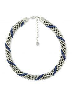 Collier chaîne de perles argentées et bleues | Bala Boosté
