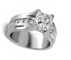 Wide band princess cut engagement ring | products engagement rings diamond engagement rings with side stones