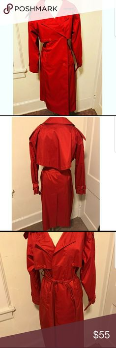 Gorgeous red trench coat Sized 8 petite...in EXCELLENT condition and a GORGEOUS candy apple red!! Stand out in this! Marked petite but can fit a normal sized 8 also. This is vintage so it is slightly oversized...can fit 6-10. Bundle and save!! Offers welcome!! Worthington Jackets & Coats Trench Coats