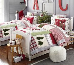 Elegant Interior Theme : Christmas Bedroom Decorating concepts December is the starting month of winter so what if we decorate our room with Christmas theme? Here are some amazing Christmas bedroom decor ideas for you to make your bedroom feel cosy! Log Cabin Christmas, Christmas Love, Country Christmas, Christmas Holidays, Christmas Decorations, Pottery Barn Christmas, Christmas Mantles, Silver Christmas, Victorian Christmas