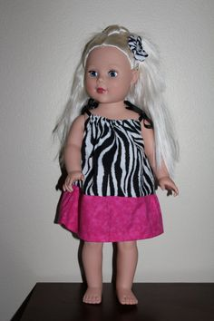 American Girl Doll Zebra Dress with Matching by LaLasCastle, $10.00