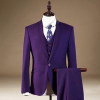 Grooms Mens Tuxedos With Pants Slim Fit Men Dress Suit Purple Jacket Pants Vest L39