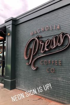 Chip and Joanna Gaines are opening up a new coffee shop in Waco, Texas called Magnolia Press. See some sneak peek photos here. Coffee Shop Names, Coffee Shop Signs, Coffee Shops, Shop Signage, Magnolia Table Restaurant, Chip Und Joanna Gaines, Coffee Shop Interior Design, Cafe Design, Design Design