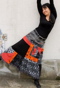 M-L Crazy pop art recycled long jeans skirt by jamfashion on Etsy
