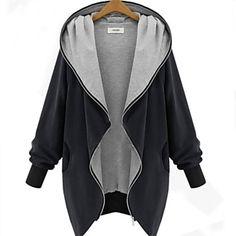 Women's V Neck Zipper Plus Size Hooded Cardigan Coat - EUR € 31.24