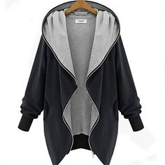 Women's V Neck Zipper Plus Size Hooded Cardigan Coat - EUR € 31.24