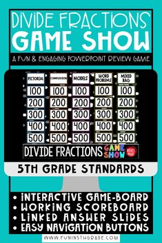 Divide Fractions PowerPoint Game Show is a fun way to teach and learn this math skill. Students will enjoy this engaging game that lets students practice dividing fractions with word problems and visuals! Perfect for math centers, math stations