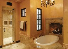 I think having a fireplace in the bathroom is the ULTIMATE in pampering haha