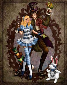 Alice in Wonderland walking with Mad Hatter