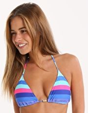 Phax Colour Stripes Tri Bikini Top - Blue The Phax Essential Colour Stripes Tri Bikini Top will turn heads around the pool with its cool blue and hot pink stripes with gold coated metal detailing in the centre of the bust http://www.MightGet.com/january-2017-13/phax-colour-stripes-tri-bikini-top--blue.asp