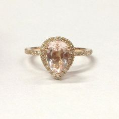6x8mm Pear Cut Morganite Halo Diamond Engagement Ring 14K Rose Gold Wedding Ring #LOGR #SolitairewithAccents
