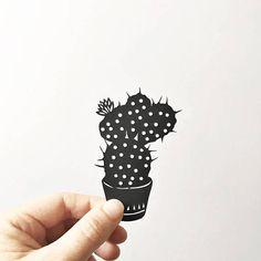 Handmade papercut Cactus silhouette miniature plant