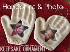 These Salt Dough Handprint & Photo Ornaments are very easy to make and perfect for homemade gifts. Try the Reindeer Thumbprint Ornaments as well! Christmas Handprint Crafts, Preschool Christmas, Christmas Activities, Christmas Crafts For Kids, Baby Crafts, Toddler Crafts, Christmas Projects, Kids Christmas, Christmas Tree Ornaments