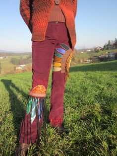 tribal autumn red patchwork pants, native american motif, indian sunrise, feathers, festival pants, plus size, L