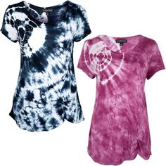 You're right on target with this fashion-forward tie-dyed tee. High-contrast white and navy accented with rhinestones make this lightweight tee a casual accent you'll keep coming back to again and again.