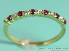SEE MORE ON http://www.hawaiijewelrybuyers.com/  #TIFFANY&CO 18K YELLOW GOLD  #DIAMOND & RUBY BAND (SZ 9.5)  #Band