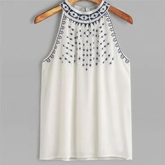 2018 New Fashion Casual Women Blouses Summer Embroidered Tops Sleeveless Casual Blouse Tops Shirt Female Blusas Tops Bordados, Chiffon Cami Tops, White Chiffon, Summer Crop Tops, Summer Tops For Girls, Bohemian Tops, Shirts For Girls, Printed Shirts, Blouses For Women