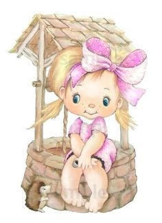 Digital vintage little girl sitting on well with by pixygirl2, $2.00