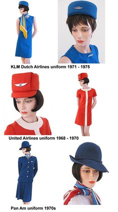 Flight Attendant uniforms from the 1970's