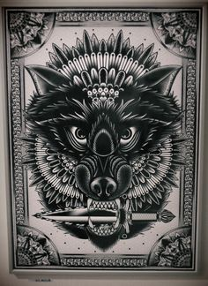 Wolf with knife Tattoo