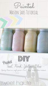 DIY Pastel Painted Mason Jars Tutorial- SWEET HAUTE