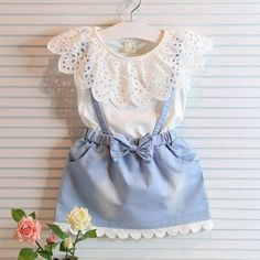 Jeans & Lace Fake Two-Piece Baby Girl Summer Dress Baby Girl Dresses baby dress Fake girl Jeans Lace Piece spon Summer Twopiece Baby Outfits, Girls Summer Outfits, Dresses Kids Girl, Tutu Outfits, Toddler Outfits, Summer Girls, Summer Clothes, Summer Baby, 2017 Summer